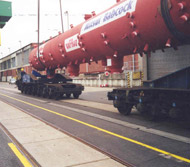 Transport of 300 tons boiler drum to Taiwan via Hamburg Port by own bolster wagon.